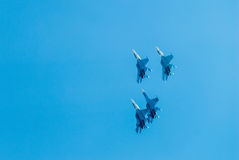 Group flight of russian pilotage team on SU-27 Royalty Free Stock Images