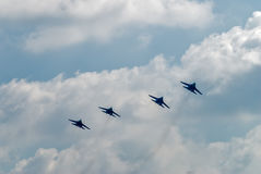 Group flight of russian pilotage team on SU-27 Royalty Free Stock Photo