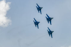Group flight of russian pilotage team on SU-27 Royalty Free Stock Photography