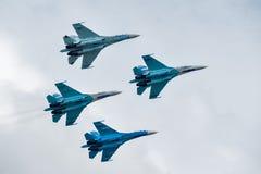 Group flight of russian pilotage team on SU-27 Royalty Free Stock Photos