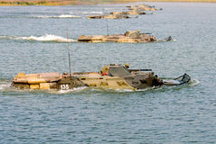 The group of floating BTR-80 Royalty Free Stock Photography