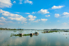 Group of floating house on lake in southern Vietnam Stock Photos
