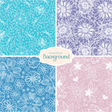 Group of flower backgrounds. Group of  colored wallpaper with beautiful abstract flowers Stock Images
