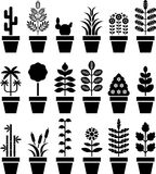 Group of Flower Pot Icons Stock Photo