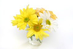 Group of flowers in a glass vase. Yellow, white and orange daisies. Useful as element design Stock Images