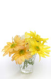 Group of flowers in a glass vase. Yellow, white and orange daisies. Useful as element design Stock Photos