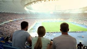 Group of football fans attentively watching match at stadium, supporting team. Stock photo stock photos