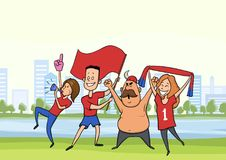 A group of football fans. Men and women cheering for their favourite football team in the city landscape. Vector. A group of football fans. Happy men and women stock illustration