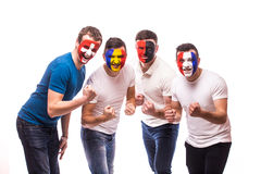 Group of football fans support their national team at camera Royalty Free Stock Photography