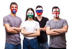 Group of football fans support their national team: Slovakia, Wales, Russia, England at camera Royalty Free Stock Image