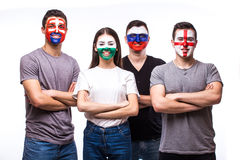 Group of football fans support their national team: Slovakia, Wales, Russia, England Royalty Free Stock Image