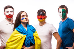 Group of football fans support their national team: Ukraine, Germany, Poland, Northern Ireland Stock Image