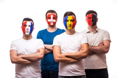 Group of football fans of their national team with crossed hands Stock Image