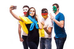 Group of football fans their national team: Ukraine, Germany, Po Stock Images