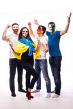 Group of football fans their national team: Ukraine, Germany, Poland, Northern Ireland take selfie Royalty Free Stock Photography