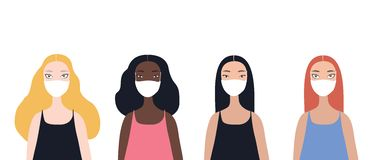 Group of four beautiful stylish cartoon woman characters african-american ethnicity caucasian ethnicity asian ethnicity. And mix raced wearing medical face vector illustration