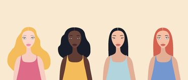 Group of four beautiful stylish cartoon woman characters african-american ethnicity caucasian ethnicity asian ethnicity. And mix raced isolated on plink stock illustration