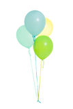 Group of four blue, green, yellow, balloons isolated Royalty Free Stock Photos
