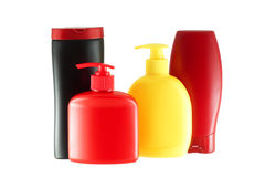 Group of four bottles for hygiene products. Royalty Free Stock Photos