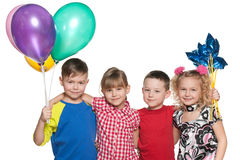 Children celebrate a birthday Stock Photo