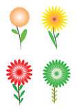 Group of four flowers. Isolated on white background royalty free illustration