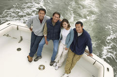 Group Of Four Friends On Boat Royalty Free Stock Images