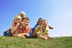 Group of four friends and kids Stock Photos