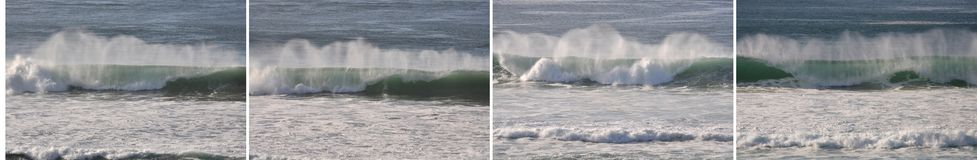 Group of four images of similar waves, horizontal Royalty Free Stock Image