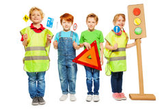 Group of four kids studying road safety rules Royalty Free Stock Image