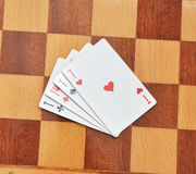 A group of four playing card aces Royalty Free Stock Image