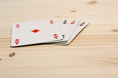A group of four playing card aces Stock Photos