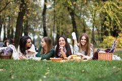 Group of young women having a picnic in the park stock photos