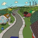 Group of Four Rural Houses stock illustration