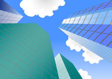 Group of four skyscrapers. Cartoon illustrations Royalty Free Stock Images
