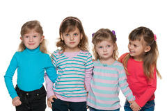 Group of four small girls Royalty Free Stock Images