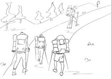 Group of four tourists with hiking sticks and backpacks. Abstract isolated contour. Hand drawn outlines. Black line drawing. vector illustration