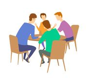 Group of four young people having discussion at the table. Brainstorming. Flat vector illustration. Isolated on white. Group of four young people having vector illustration