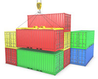 Group of freight containers Royalty Free Stock Image