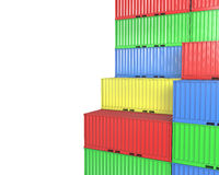 Group of freight containers, with blanks space Stock Photo