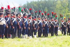 A group of French (Napoleonic) soldiers-reenactors Stock Photo