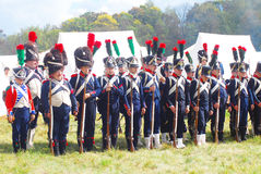 A group of French (Napoleonic) soldiers-reenactors standing in a row. Stock Images