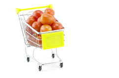 Group of fresh cherry tomatoes on trolley Royalty Free Stock Photography