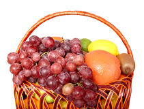 Group of fresh fruit in basket. Stock Image