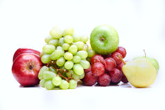 Group of fresh fruits. Isolated on white Royalty Free Stock Photography