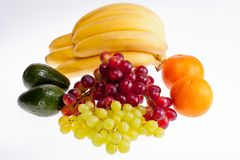 Group of fresh fruits isolated on white background Royalty Free Stock Photos