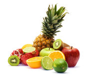 Group of fresh fruits over white background Royalty Free Stock Image