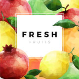 Group of fresh fruits over white with sample text Stock Image