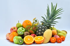 Group of fresh fruits and vegetables on white Royalty Free Stock Images