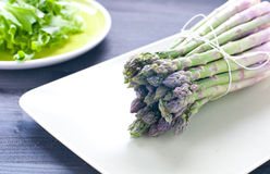 Group of fresh green asparagus Royalty Free Stock Images