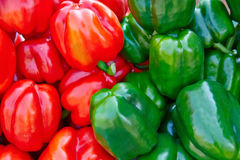 Group of fresh green and red peppers Stock Images